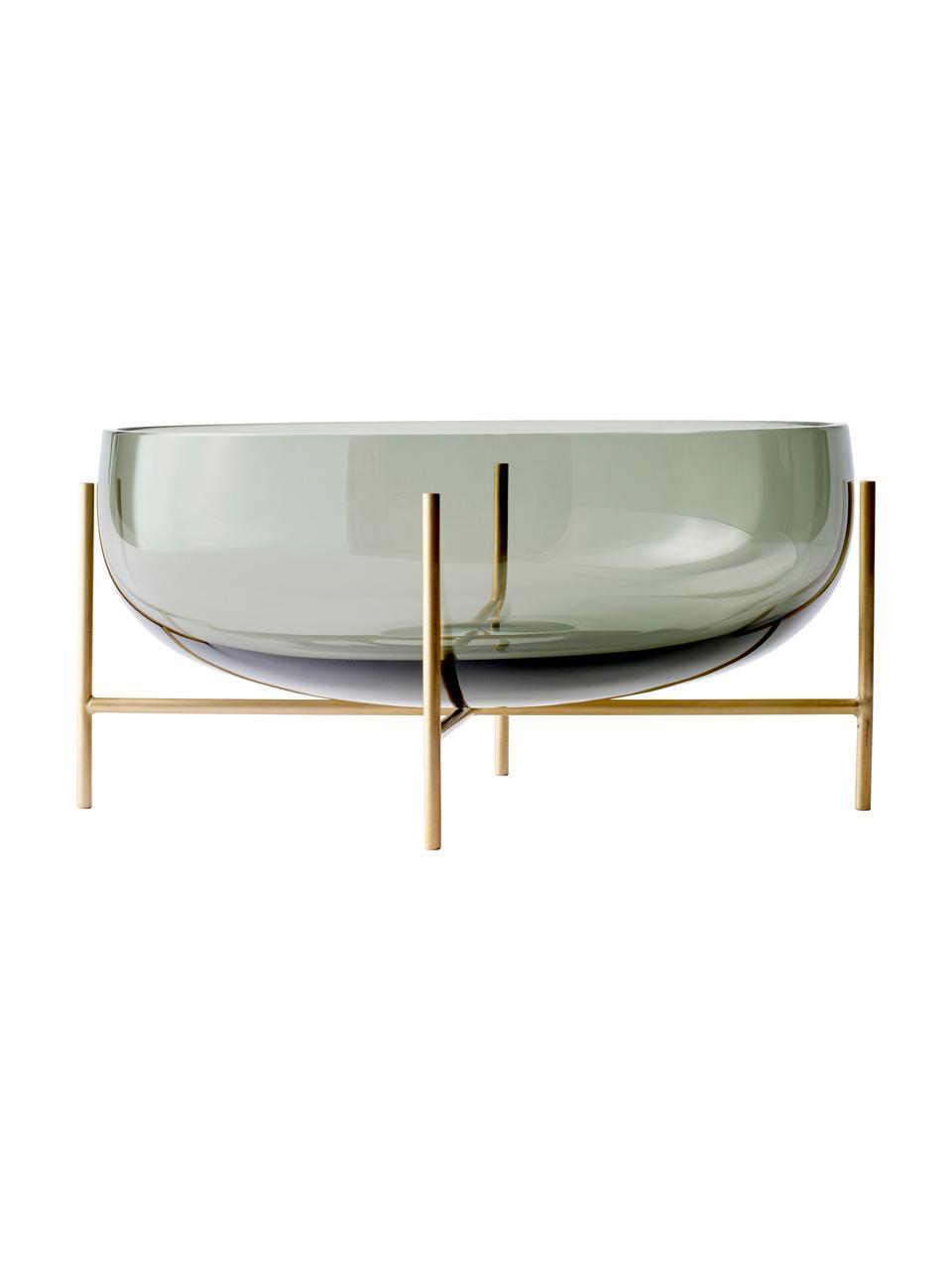 Ciotola Échasse, Struttura: ottone, Ciotola: vetro soffiato, Struttura: ottone Vaso: grigio, Ø 30 x A 14 cm