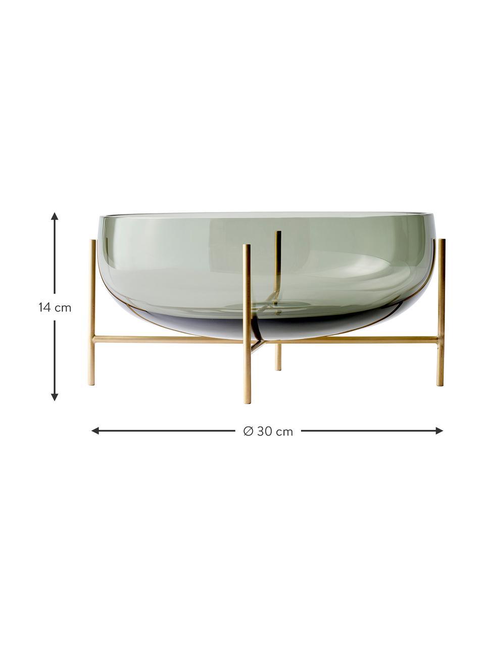 Schale Échasse, Gestell: Messing, Schale: Glas, mundgeblasen, Messingfarben, Grau, Ø 30 x H 14 cm