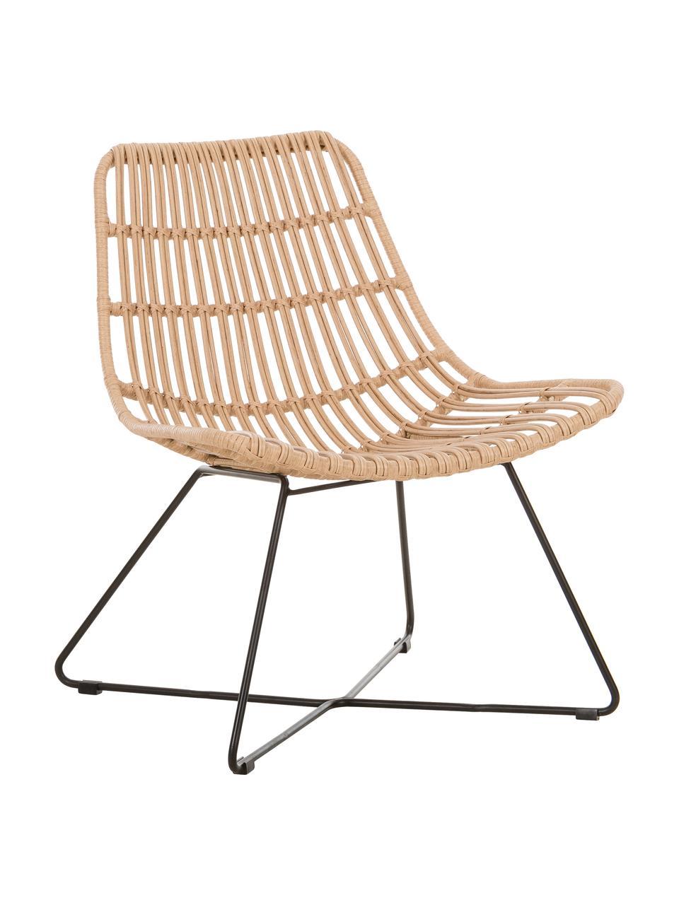 Fotel wypoczynkowy z wikliny Costa, Stelaż: metal malowany proszkowo, Jasny brązowy, S 64 x G 64 cm
