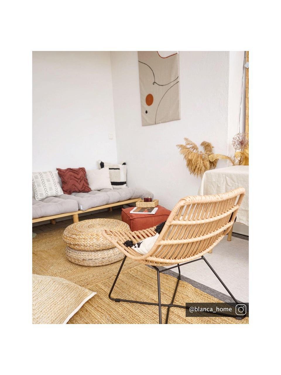Fotel w stylu boho Costa, Jasny brązowy, S 64 x G 64 cm