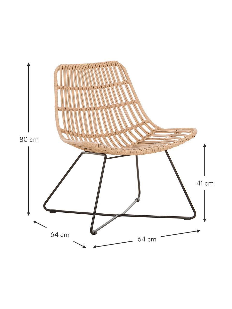 Polyrotan loungefauteuil Costa in lichtbruin, Zitvlak: polyethyleen-vlechtwerk, Frame: gepoedercoat metaal, Lichtbruin, B 64 x D 64 cm