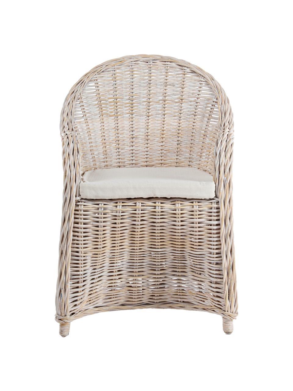 Fotel wypoczynkowy z rattanu Martin, Tapicerka: bawełna, Rattanowy, biały, S 60 x G 67 cm
