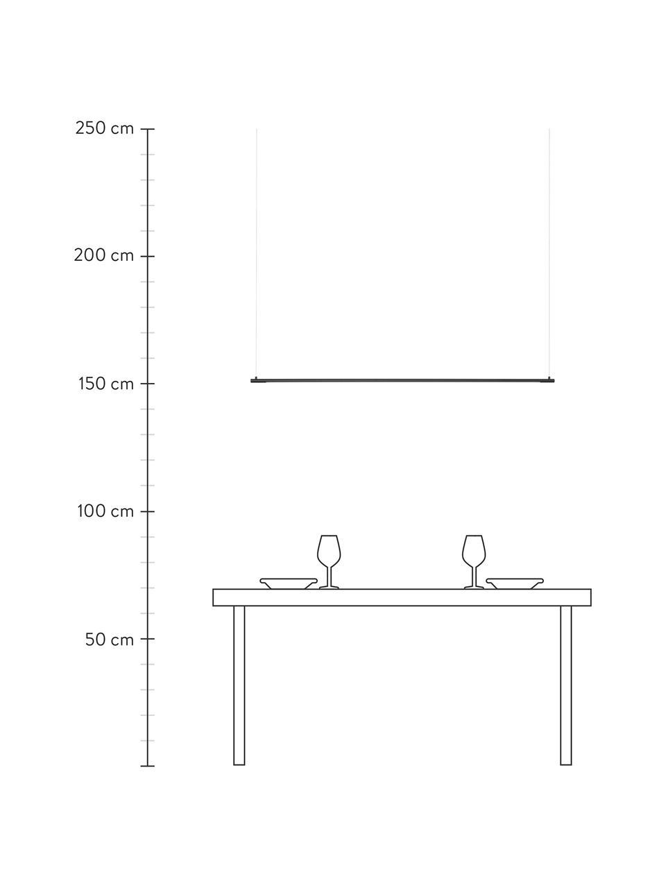 Große LED-Pendelleuchte Elettra, Lampenschirm: Aluminium, Baldachin: Aluminium, Schwarz, 120 x 2 cm