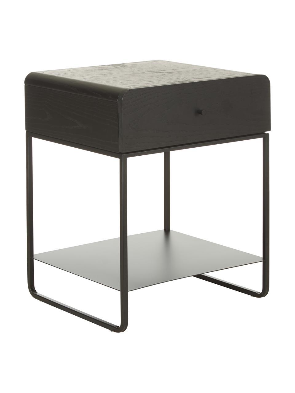 Comodino con cassetto Sally, Struttura: metallo verniciato a polv, Nero, Larg. 45 x Lung. 58 cm