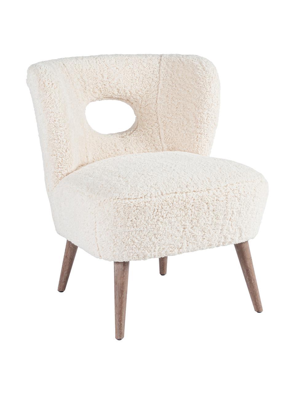 Fotel wypoczynkowy Teddy Cortina, Stelaż: drewno jodłowe, Nogi: drewno kauczukowe, Odcienie kremowego, S 65 x G 68 cm