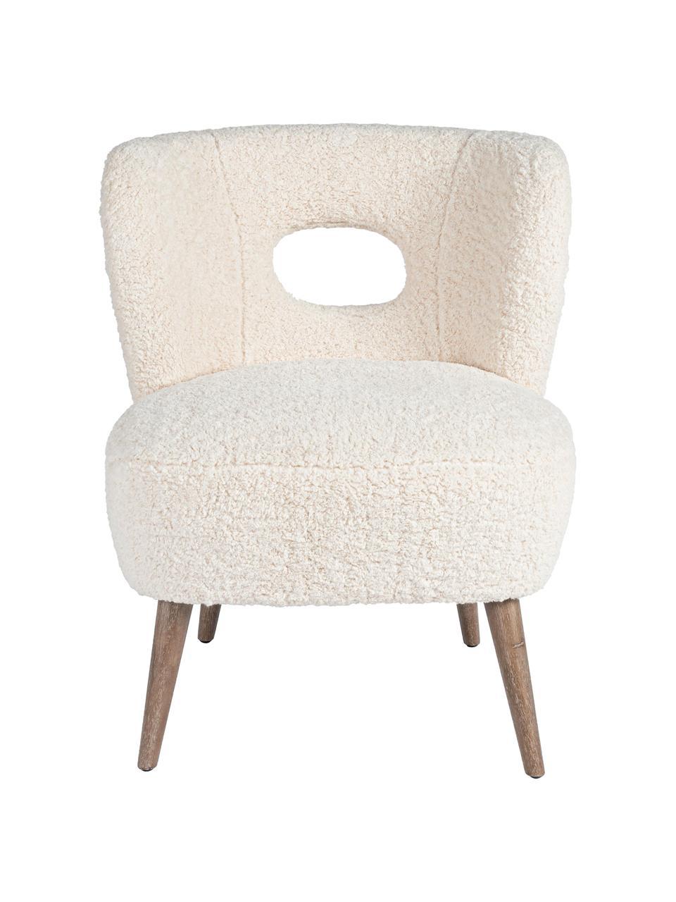Teddy loungefauteuil Cortina, Zitvlak: polyester, Frame: dennenhout, Poten: rubberhout, Crèmekleurig, 65 x 68 cm