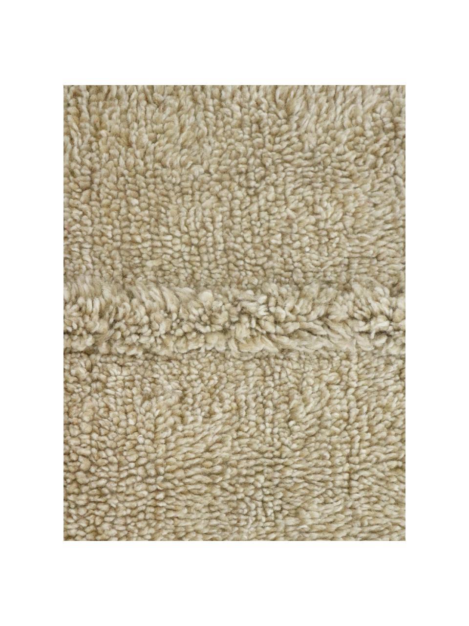 Handgefertigter Wollteppich Tundra in Beige, waschbar, Flor: 100% Wolle, Beige, B 80 x L 140 cm (Größe XS)