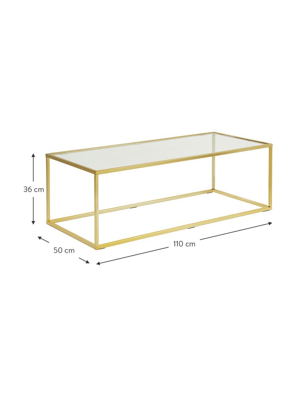 Salontafel Maya met glazen tafelblad, Tafelblad: veiligheidsglas, Frame: gegalvaniseerd metaal, Tafelblad: glas, transparant. Frame: glanzend goudkleurig, 110 x 36 cm