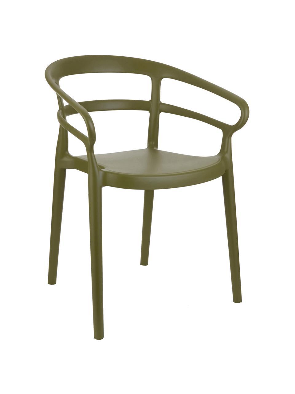 Židle zumělé hmoty spodručkami Rodi, 2 ks, Zelená