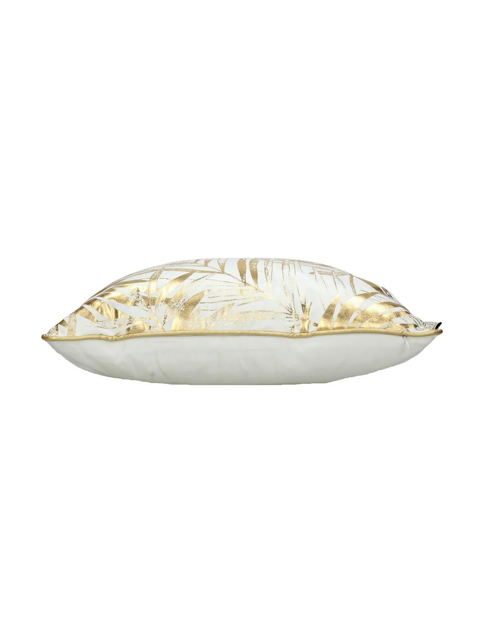 Samt-Kissen Leafs mit goldenem Blätterprint, mit Inlett, Weiß, Goldfarben, 45 x 45 cm