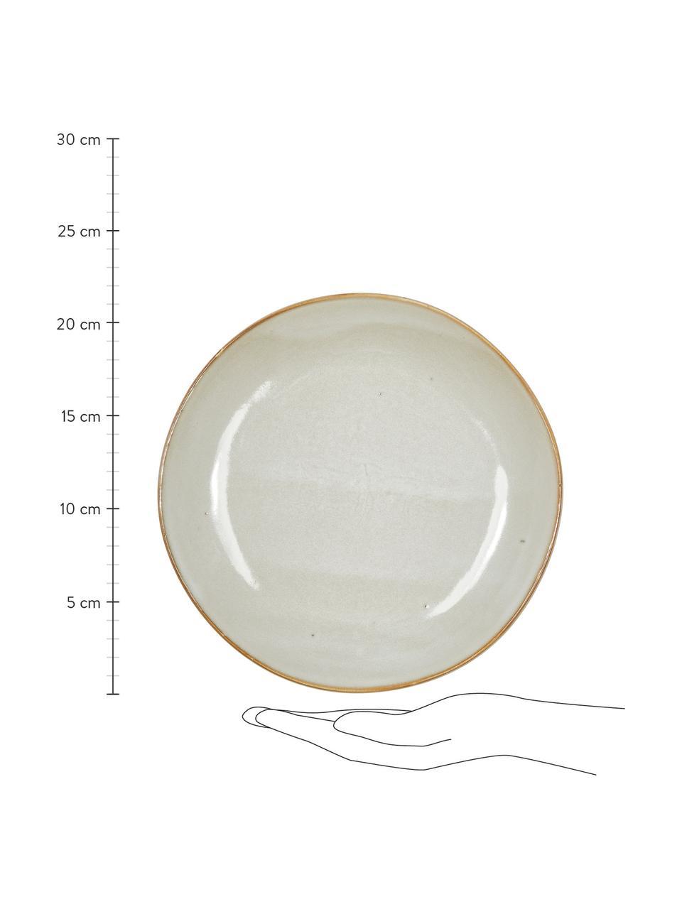 Piattino da dessert fatto a mano Thalia 2 pz, Gres, Crema con bordo scuro, Ø 22 cm