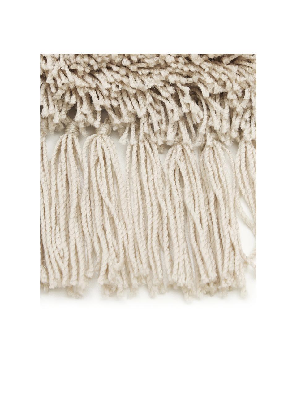 Fluffy rond hoogpolig vloerkleed Dreamy met franjes, Bovenzijde: 100% polyester, Onderzijde: 100% katoen, Crèmekleurig, Ø 200 cm (maat L)
