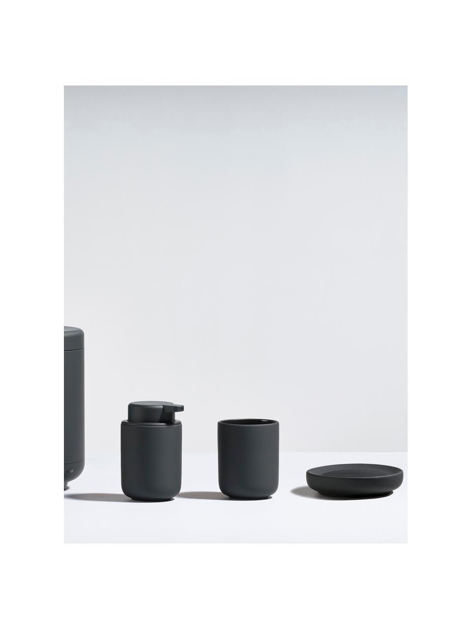 Porzellan-Seifenschale Ume, Porzellan, Schwarz, Ø 12 x H 3 cm