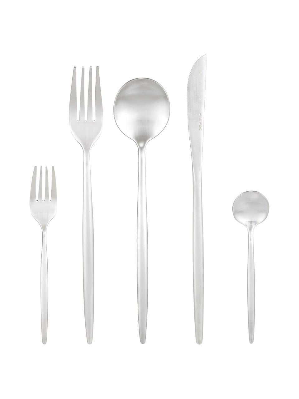 Silberfarbenes Besteck-Set Kaylah aus Edelstahl, in verschiedenen Setgrößen, Messer: Edelstahl 13/0, Silber, 4 Personen (20-tlg.)