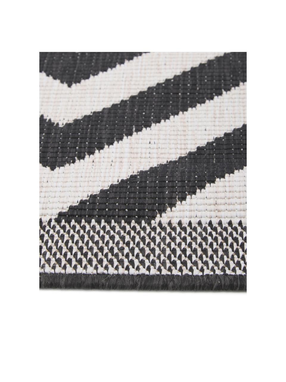 Dubbelzijdig in- & outdoor vloerkleed Palma, met zigzag patroon, 100% polypropyleen, Zwart, crèmekleurig, B 80 x L 150 cm (maat XS)