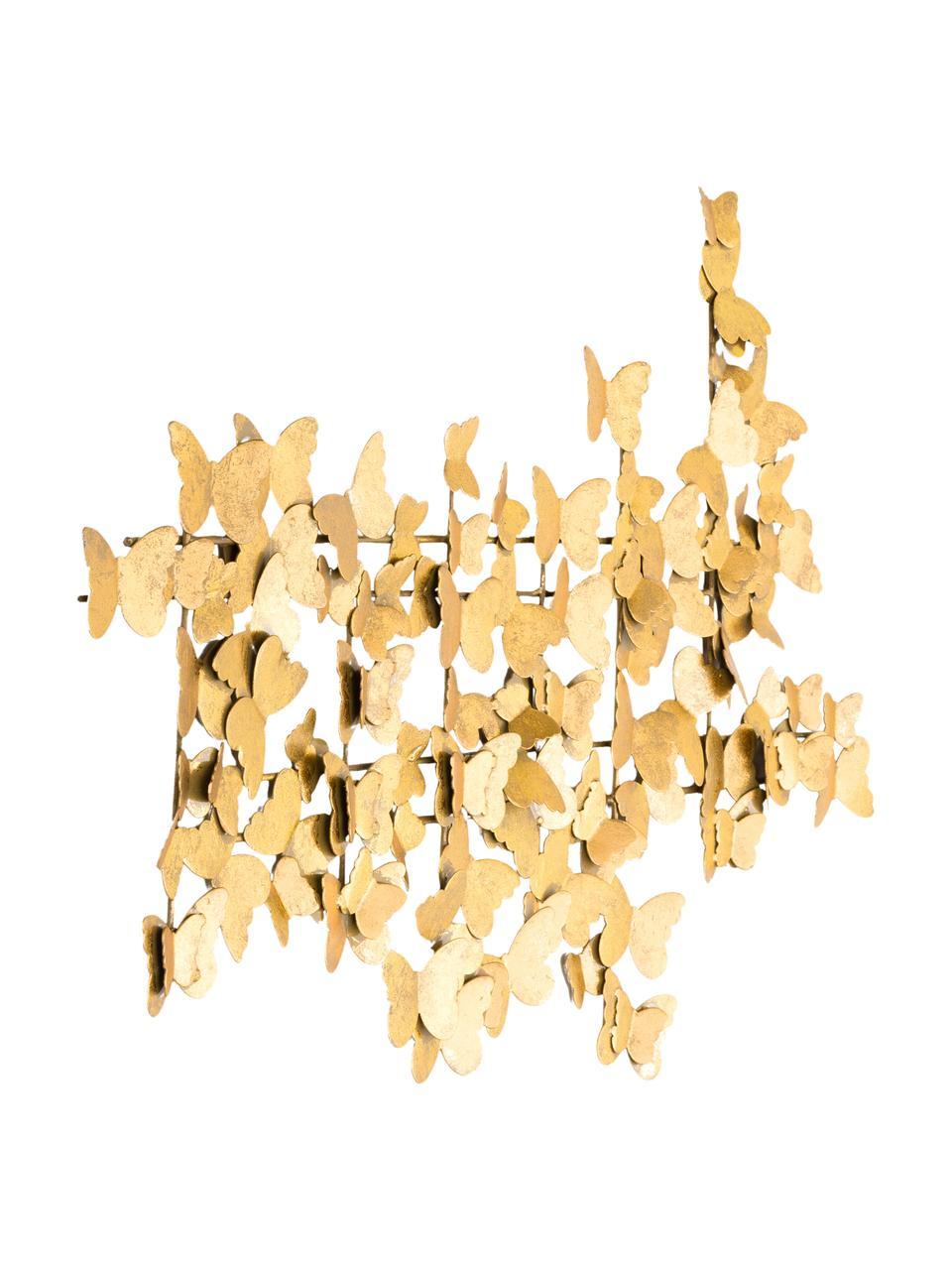 Wandobject Butterfly van metaal in antieke look, Metaal, Goudkleurig, 104 x 62 cm