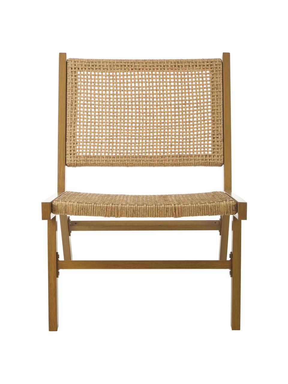 Garten-Loungesessel Palina mit Kunststoff-Geflecht in Holzoptik, Gestell: Metall, pulverbeschichtet, Sitzfläche: Kunststoff-Geflecht, Braun, B 57 x T 78 cm