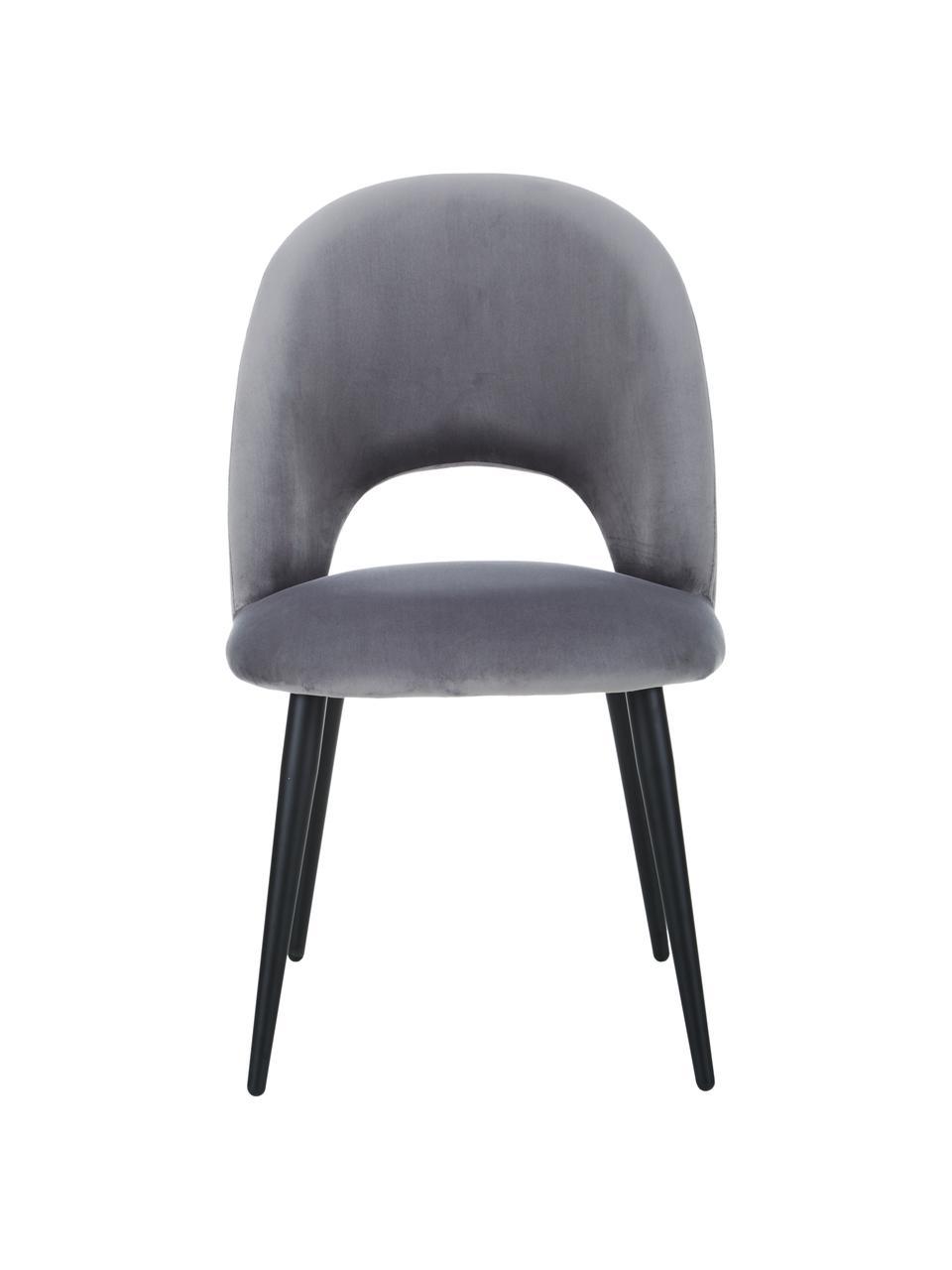 Krzesło tapicerowane z aksamitu Rachel, Tapicerka: aksamit (wysokiej jakości, Nogi: metal malowany proszkowo, Aksamitny stalowoszary, S 53 x G 57 cm
