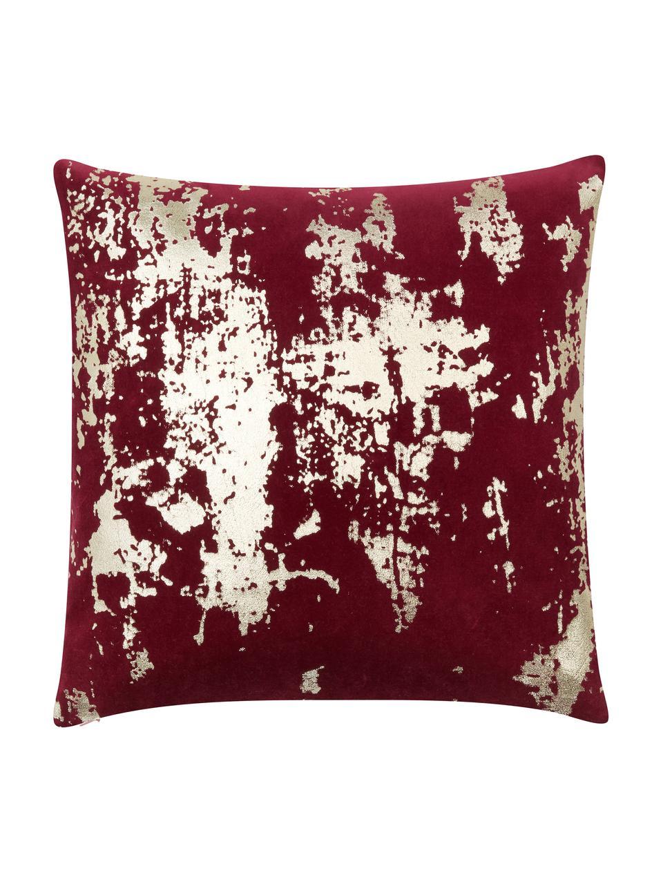 Poszewka na poduszkę z aksamitu Shiny, Aksamit bawełniany, Czerwony, odcienie złotego, S 40 x D 40 cm