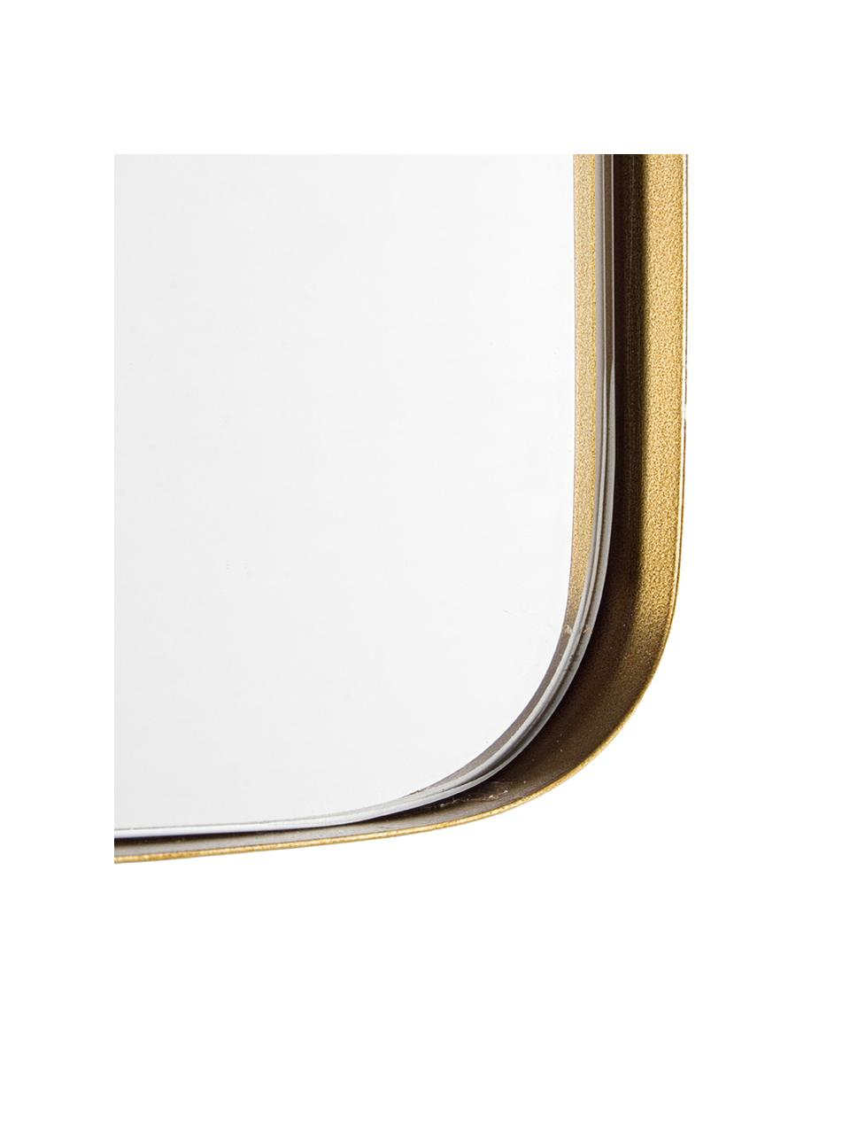 Eckiger Wandspiegel Adhira mit messingfarbenem Metallrahmen, Rahmen: Metall, vermessingt, Spiegelfläche: Spiegelglas, Messingfarben, 60 x 60 cm