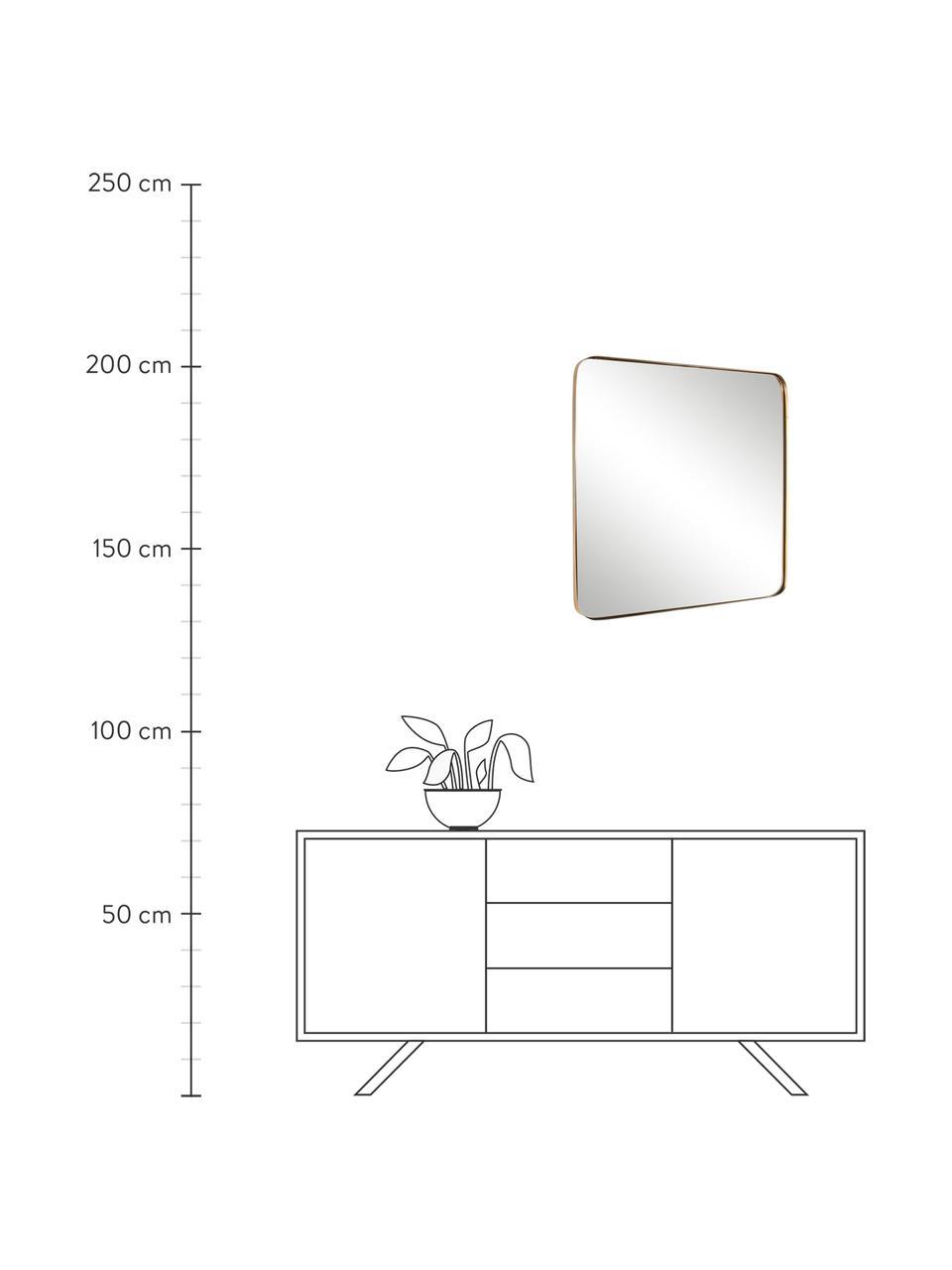 Goldener Wandspiegel Adhira mit Metallrahmen, Rahmen: Metall, beschichtet, Spiegelfläche: Spiegelglas, Messingfarben, 60 x 60 cm