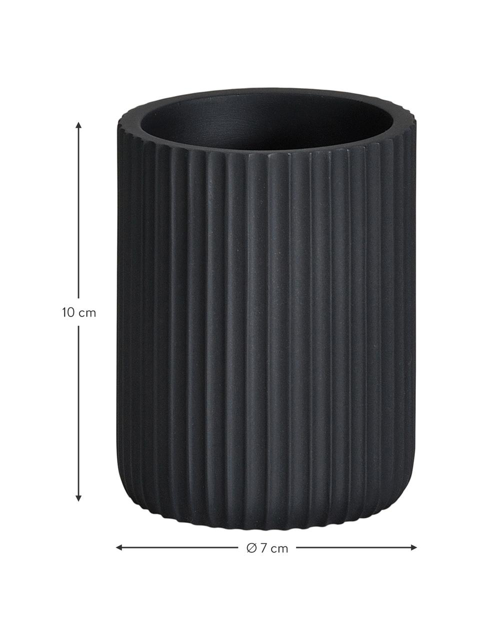 Porta spazzolini Blackheath, Poliresina, Nero, Ø 7 x Alt. 10 cm