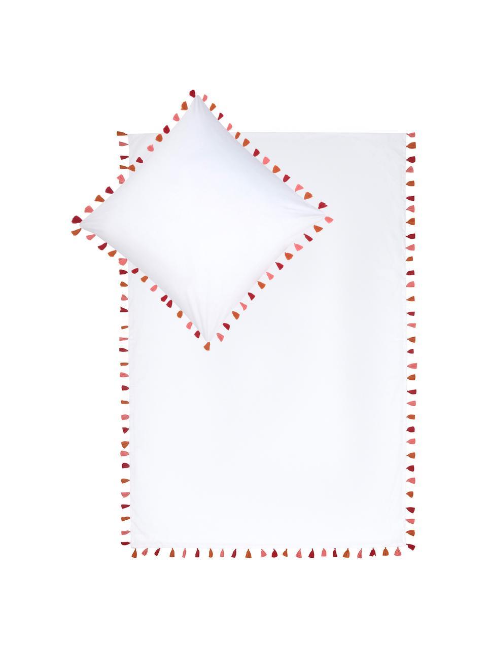 Baumwollperkal-Bettwäsche Quo mit Quasten, Webart: Perkal Fadendichte 200 TC, Weiß, Mehrfarbig, 240 x 220 cm + 2 Kissen 80 x 80 cm