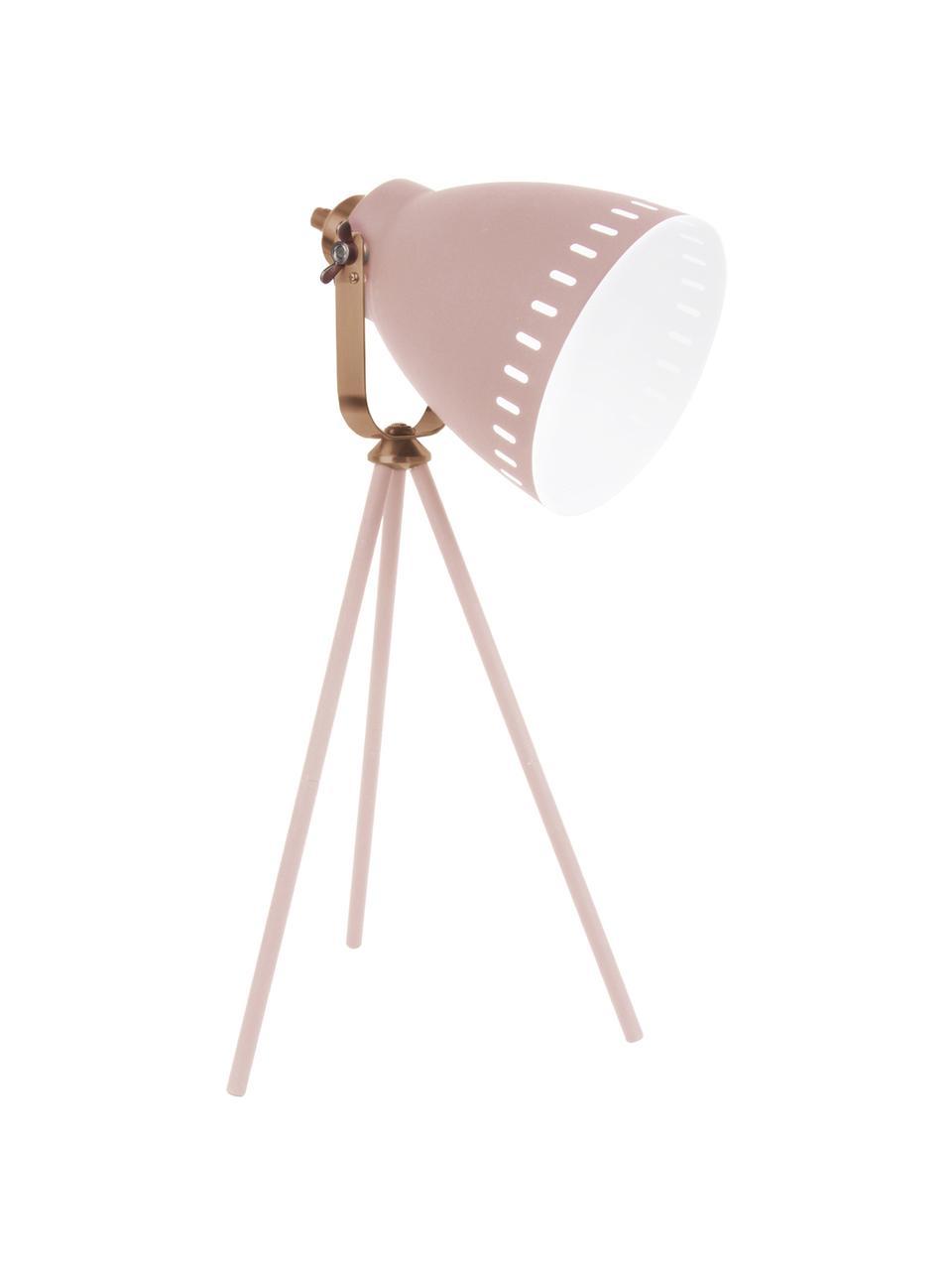 Große Tripod Schreibtischlampe Mingle mit Kupfer-Dekor, Lampenschirm: Eisen, lackiert, Lampenfuß: Eisen, lackiert, Dekor: Messing, lackiert, Weiß, Kupferfarben, 27 x 54 cm