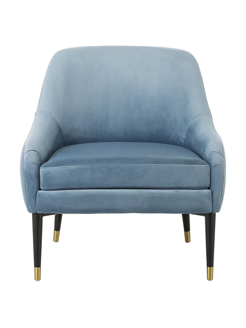 Samt-Cocktailsessel Eugenia in Blau, Bezug: Samt (Polyester) Der hoch, Beine: Metall, pulverbeschichtet, Samt Hellblau, B 75 x T 79 cm