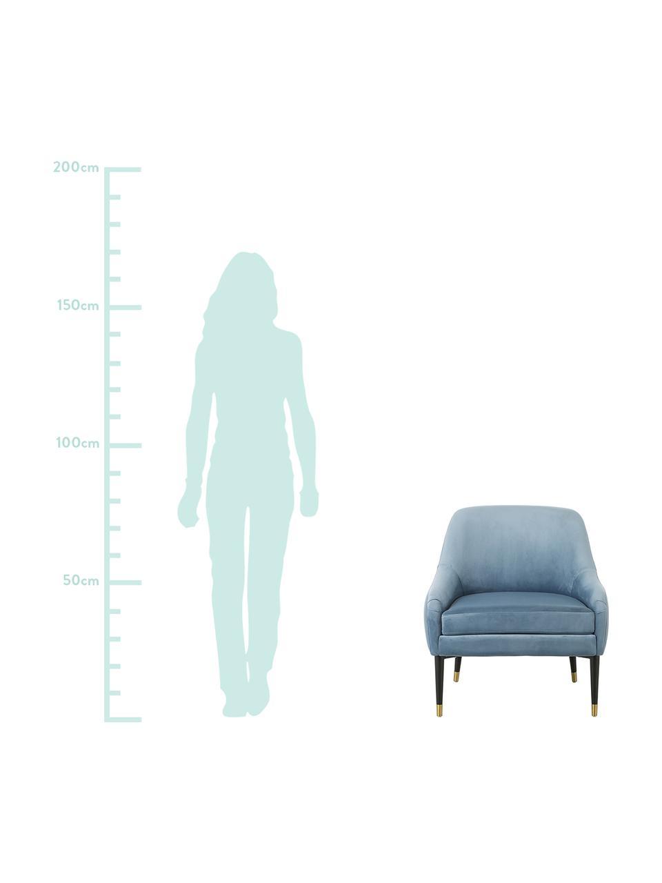Sedia a poltrona in velluto blu chiaro Eugenia, Rivestimento: velluto (poliestere) 50.0, Gambe: metallo verniciato a polv, Velluto azzurro, Larg. 75 x Prof. 79 cm