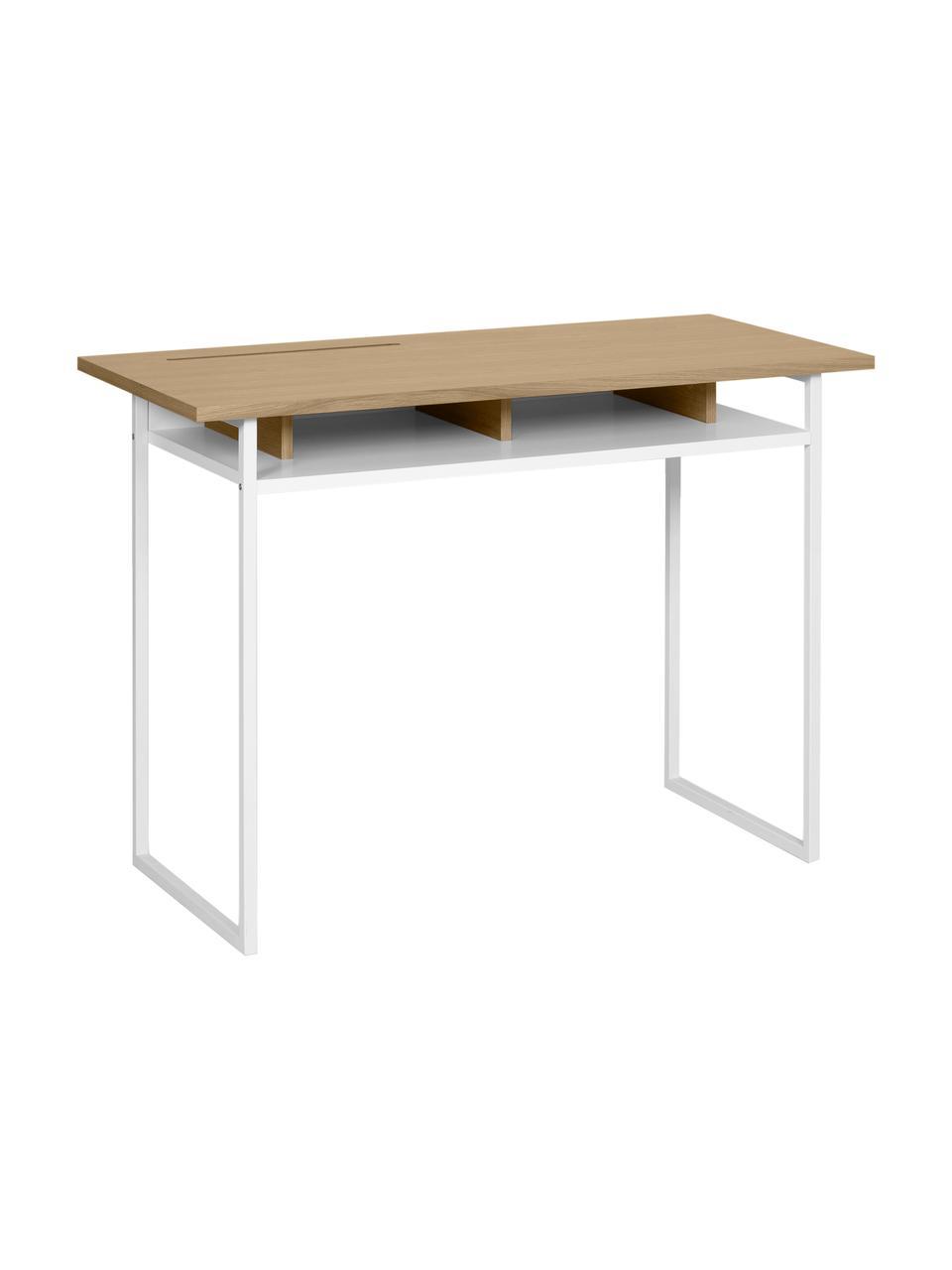 Weißer Schreibtisch Bristol, Korpus: Mitteldichte Holzfaserpla, Beine: Metall, lackiert, Eichenholz, Weiß, 110 x 78 cm