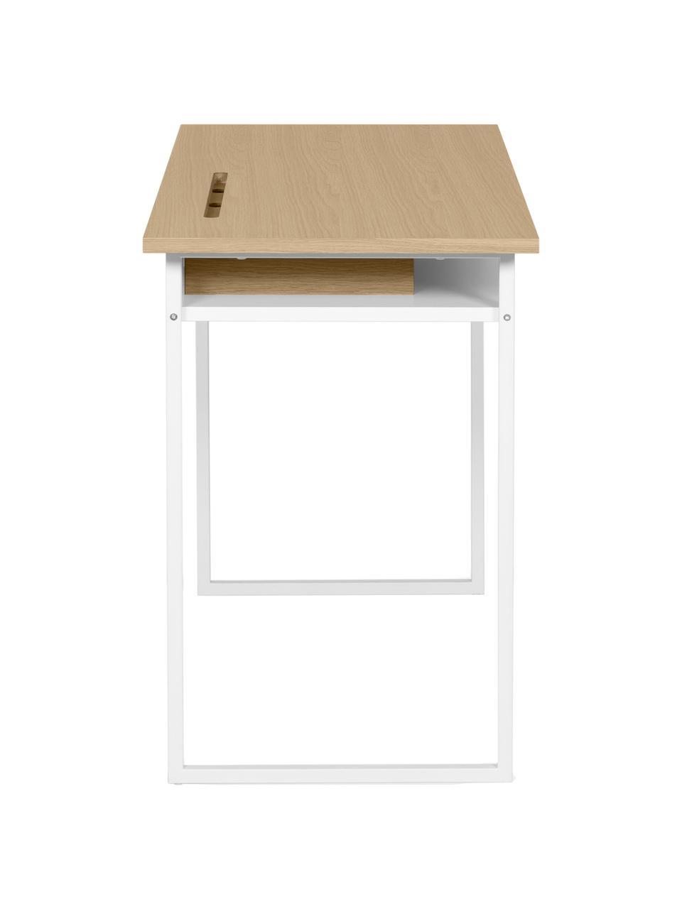 Wit bureau Bristol, Frame: MDF, fineer, spaanplaat, Poten: gelakt metaal, Eikenhoutkleurig, wit, 110 x 78 cm
