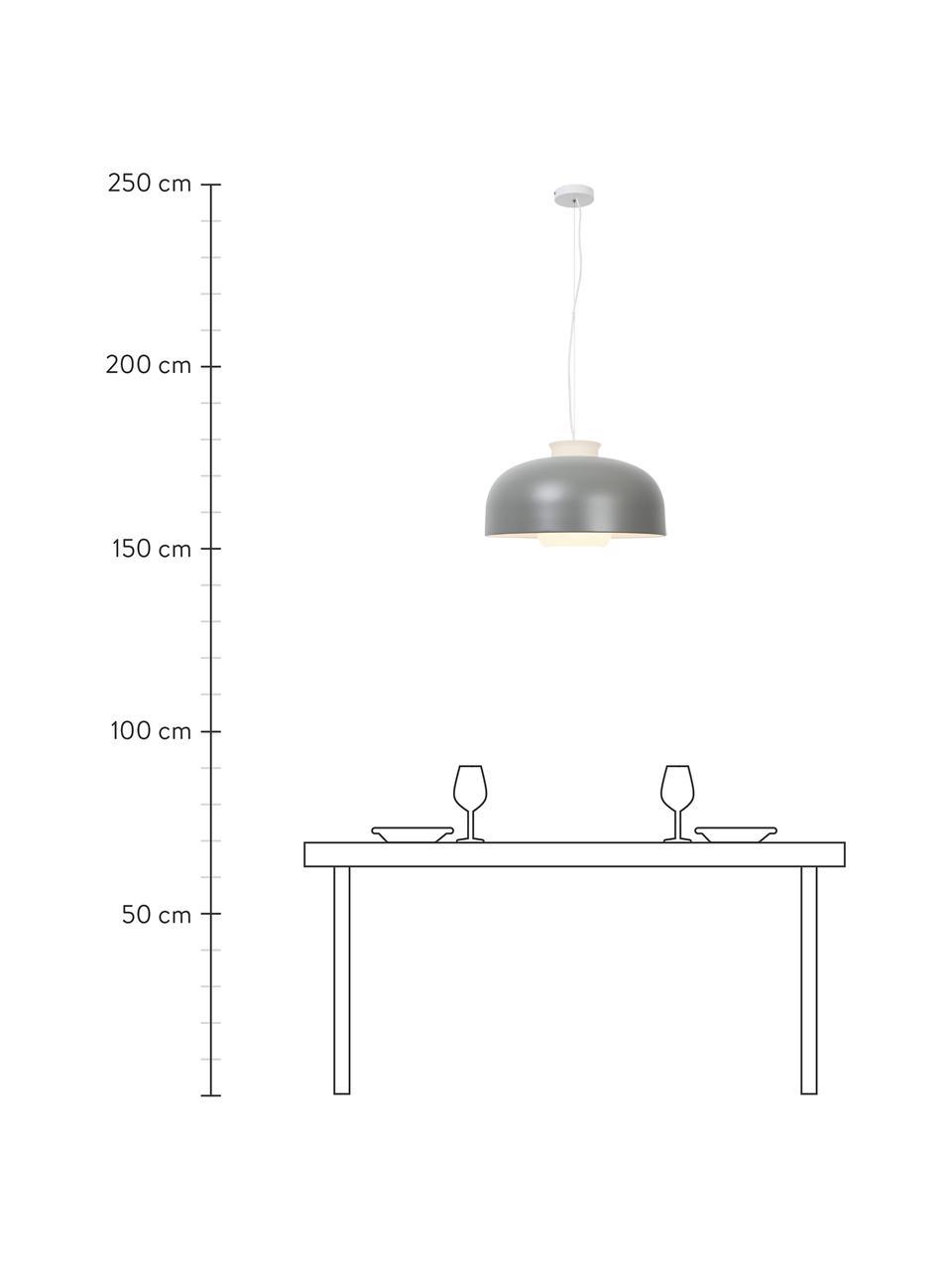Lampada a sospensione retrò Miry, Paralume: metallo rivestito, Baldacchino: metallo, Grigio, Ø 50 x Alt. 28 cm