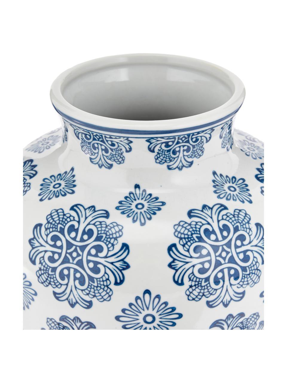Decoratieve vaas Lin uit porselein, Porselein, niet waterdicht, Wit, blauw, Ø 21 x H 28 cm