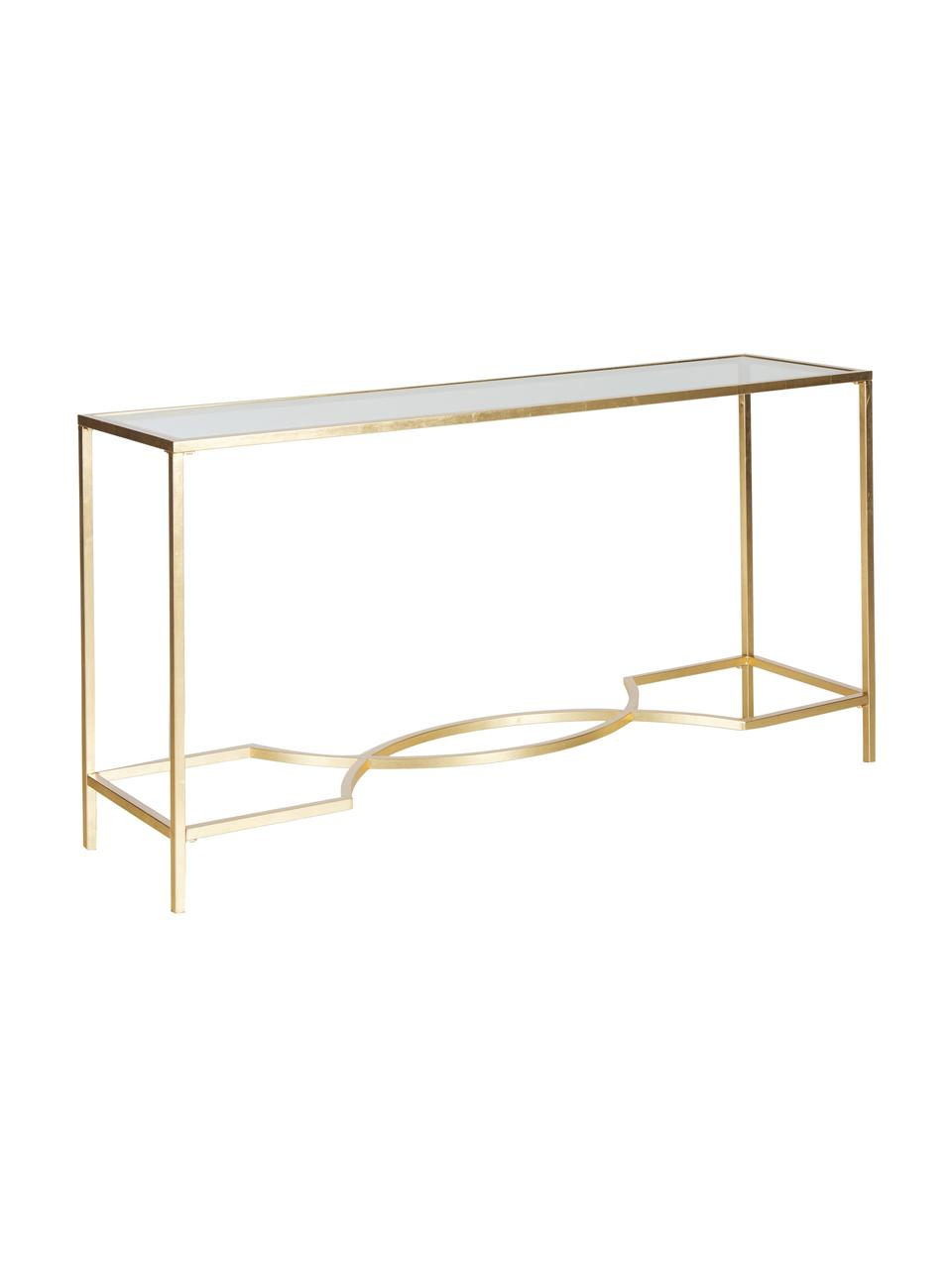 Sidetable Sia met glasplaat, Frame: gelakt metaal, Tafelblad: glas,gehard, Frame: gouden plaat: transparant, B 160 x D 40 cm