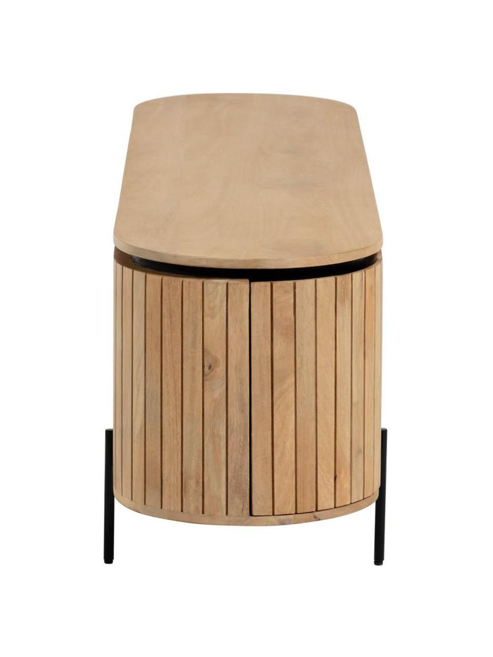 TV-Konsole Licia aus massivem Mangoholz mit Türen, Korpus: Mangoholz, per Hand polie, Füße: Metall, lackiert, Beige, Schwarz, 160 x 56 cm
