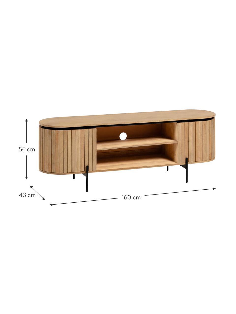 Mobile TV in legno massiccio di mango con ante Licia, Piedini: metallo verniciato, Beige, nero, Larg. 160 x Alt. 56 cm