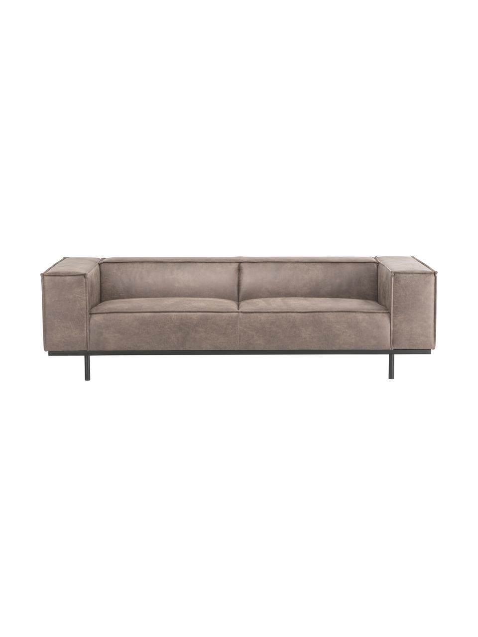 Leder-Sofa Abigail (3-Sitzer) in Cognacfarben mit Metall-Füßen, Bezug: Lederfaserstoff (70% Lede, Beine: Stahl, lackiert, Leder Cognac, B 230 x T 95 cm
