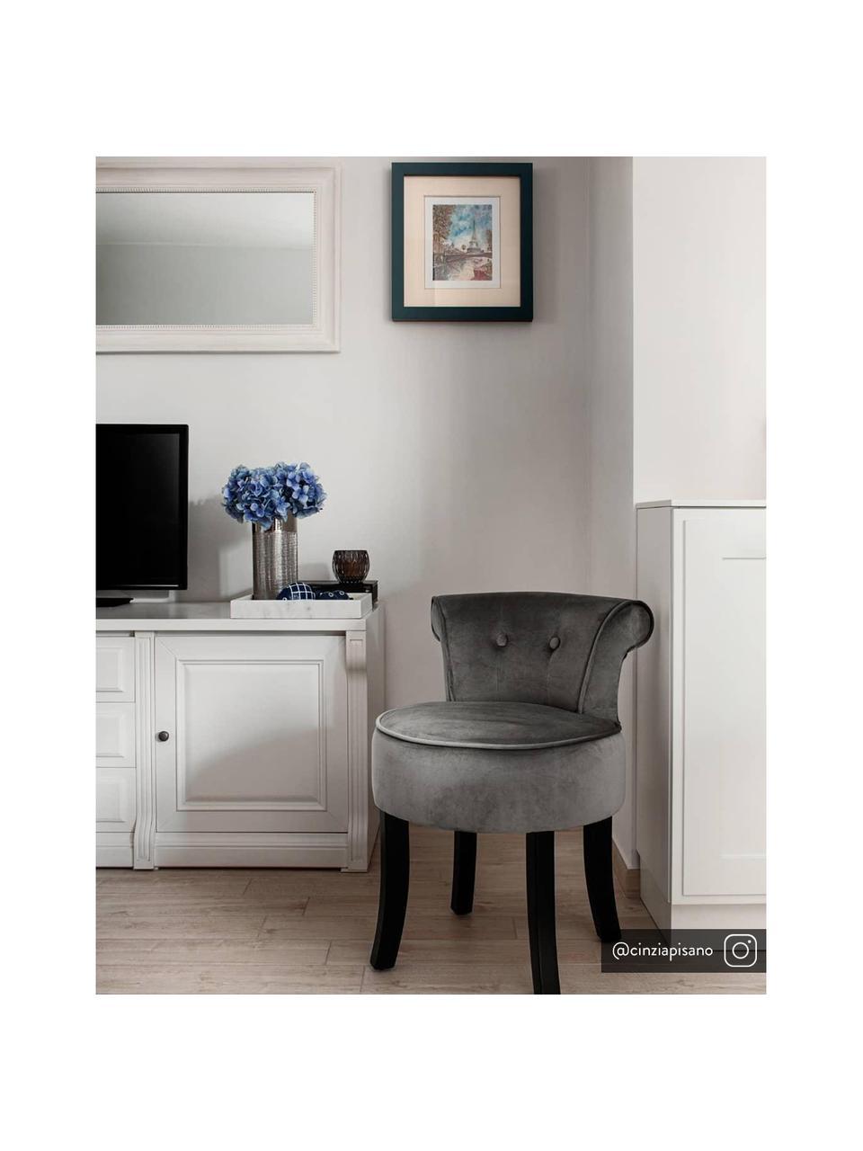Samt-Hocker Alison mit Rückenlehne, Bezug: Baumwollsamt Der hochwert, Füße: Birkenholz, lackiert, Samt Grau, 48 x 65 cm