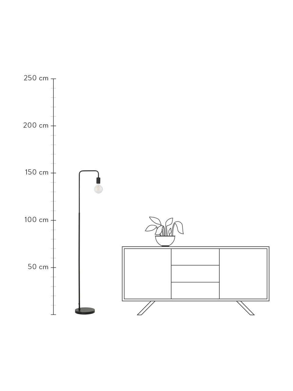 Leeslamp Flow van metaal, Lamp: gepoedercoat metaal, Zwart, 33 x 153 cm