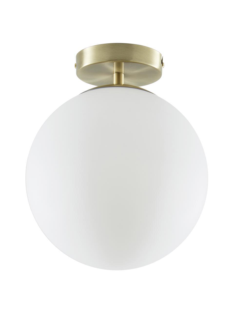 Mała lampa sufitowa ze szkła Hitch, Osłona mocowania sufitowego i oprawa: mosiądz, matowy Klosz: biały, Ø 25 x W 30 cm