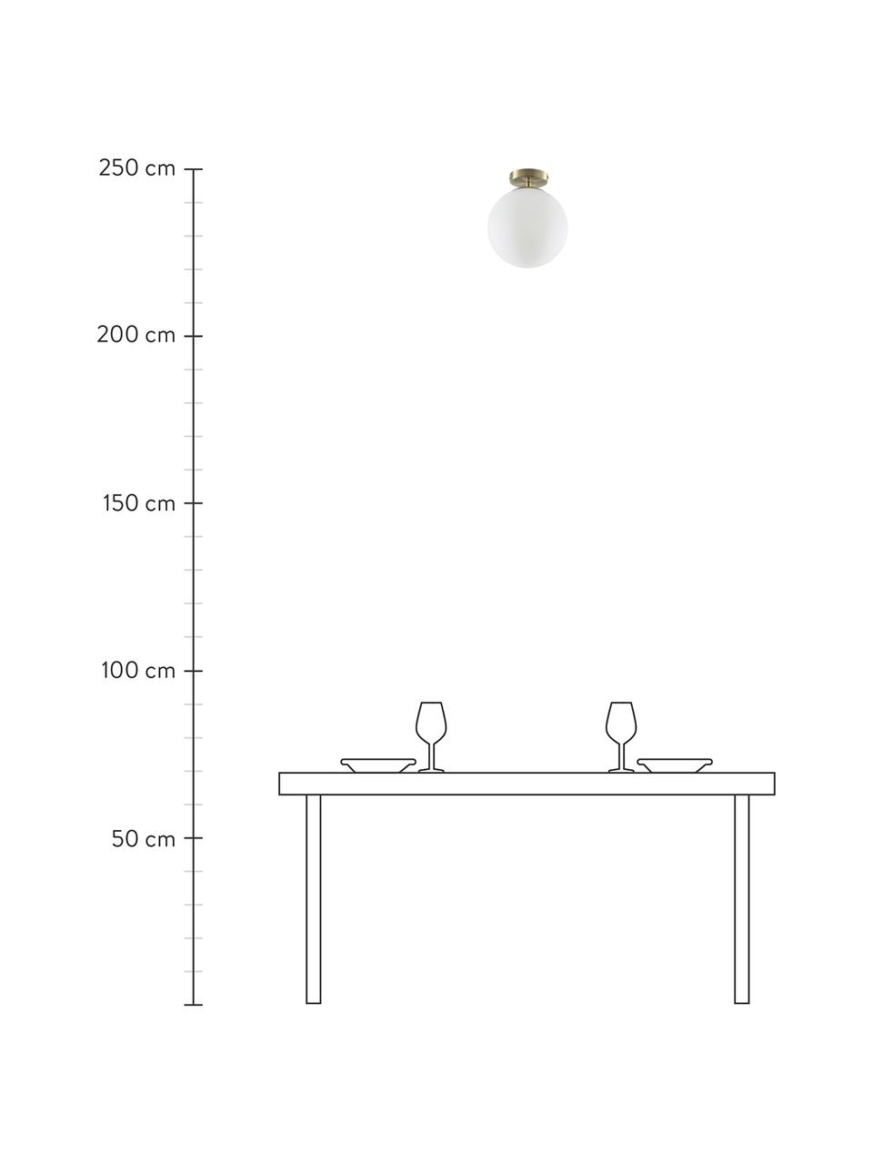Kleine Deckenleuchte Hitch aus Glas, Baldachin: Metall, vermessingt, Lampenschirm: Glas, Baldachin und Fassung: Messing, mattLampenschirm: Weiss, Ø 25 x H 30 cm