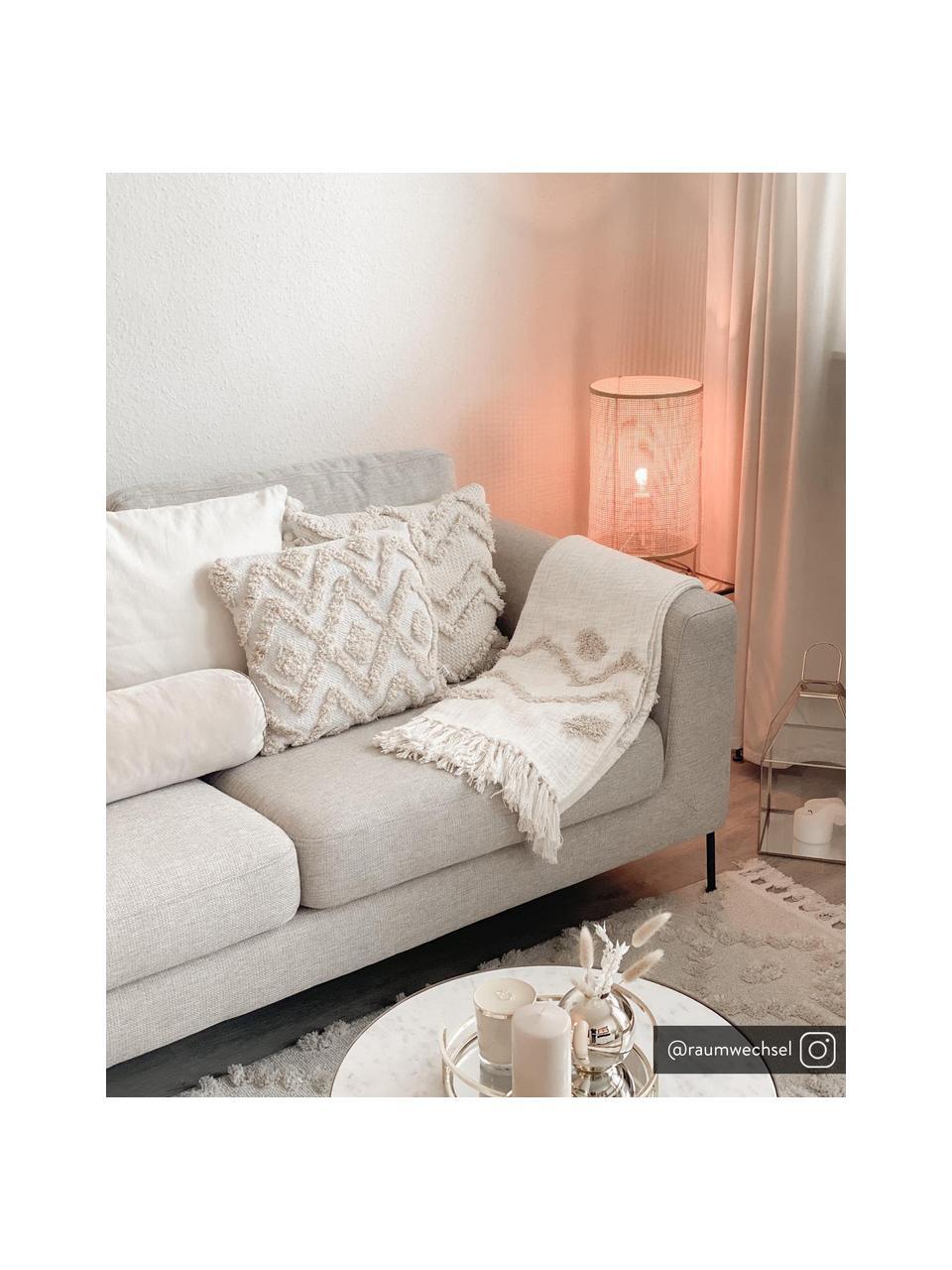 Bank Cucita (2-zits) in beige met metalen poten, Bekleding: geweven stof (polyester) , Frame: massief grenenhout, Poten: gelakt metaal, Beige, B 187 x D 94 cm
