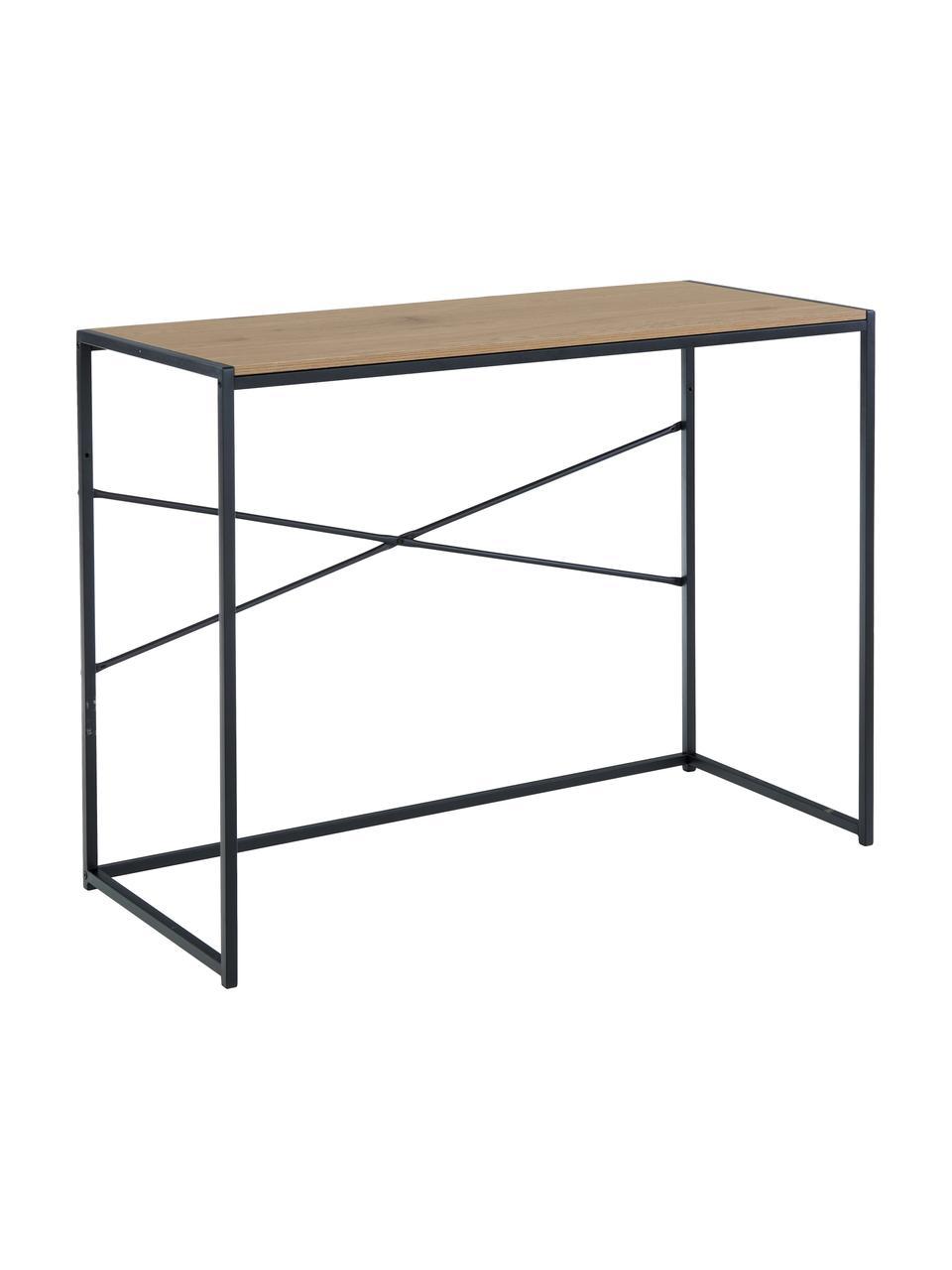 Smal bureau Seaford van hout en metaal, Tafelblad: gelamineerd MDF, Frame: gepoedercoat metaal, Zwart, wild eikenhout, B 100 x D 45 cm