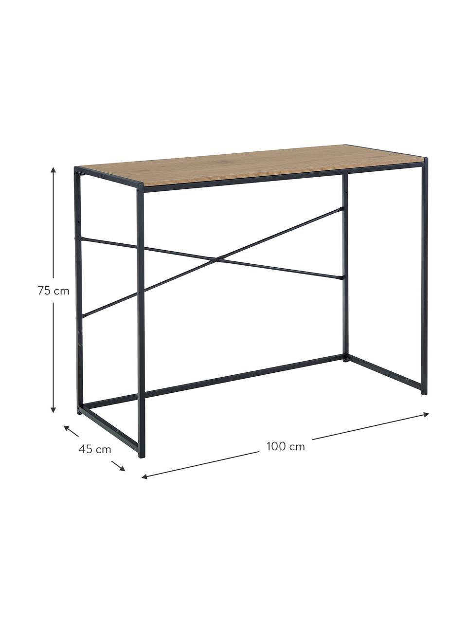 Wąskie biurko z drewna i metalu Seaford, Blat: płyta pilśniowa średniej , Stelaż: metal lakierowany proszko, Blat: dzikie drewno dębowe Stelaż: czarny, S 100 x G 45 cm