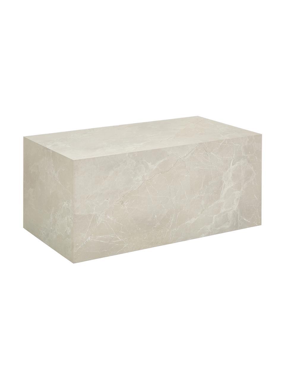 Tavolino da salotto effetto travertino Lesley, Pannello di fibra a media densità (MDF) rivestito con foglio di melamina, Beige, Larg. 90 x Alt. 40 cm