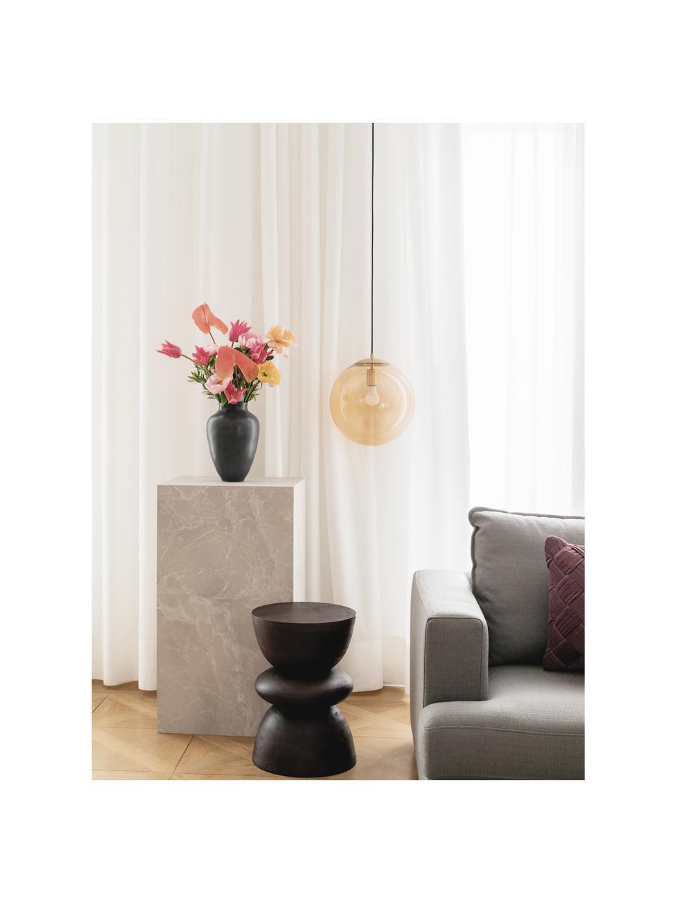 Tavolino da salotto effetto travertino Lesley, Pannello di fibra a media densità (MDF) rivestito con foglio di melamina, Beige effetto travertino, Larg. 90 x Alt. 40 cm