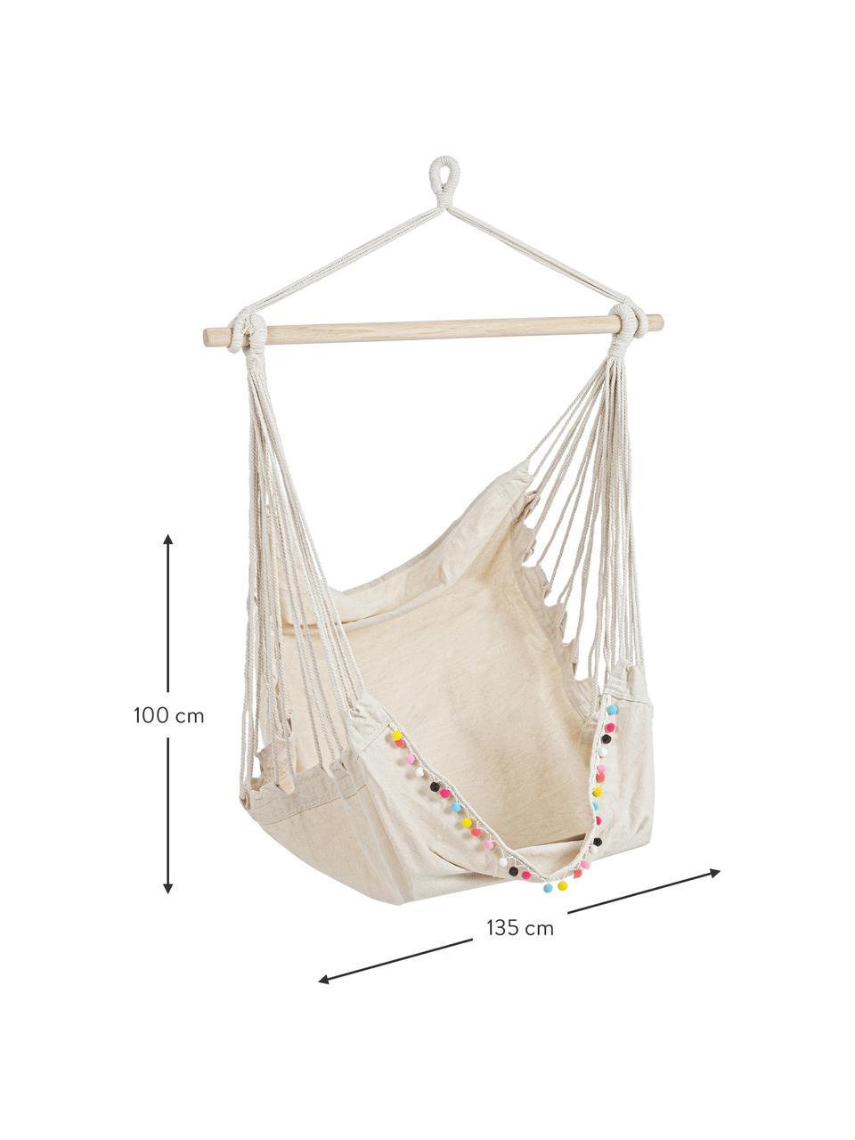 Hangstoel Pon-Pon met gekleurde pompoms, Frame: hardhout, Zitvlak: 65% katoen, 35% polyester, Gebroken wit, 135 x 100 cm