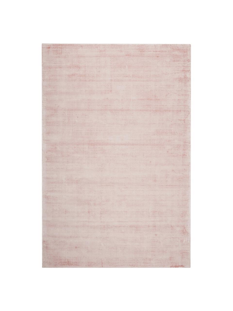 Handgeweven viscose vloerkleed Jane in roze, Bovenzijde: 100% viscose, Onderzijde: 100% katoen, Roze, B 120 x L 180 cm (maat S)