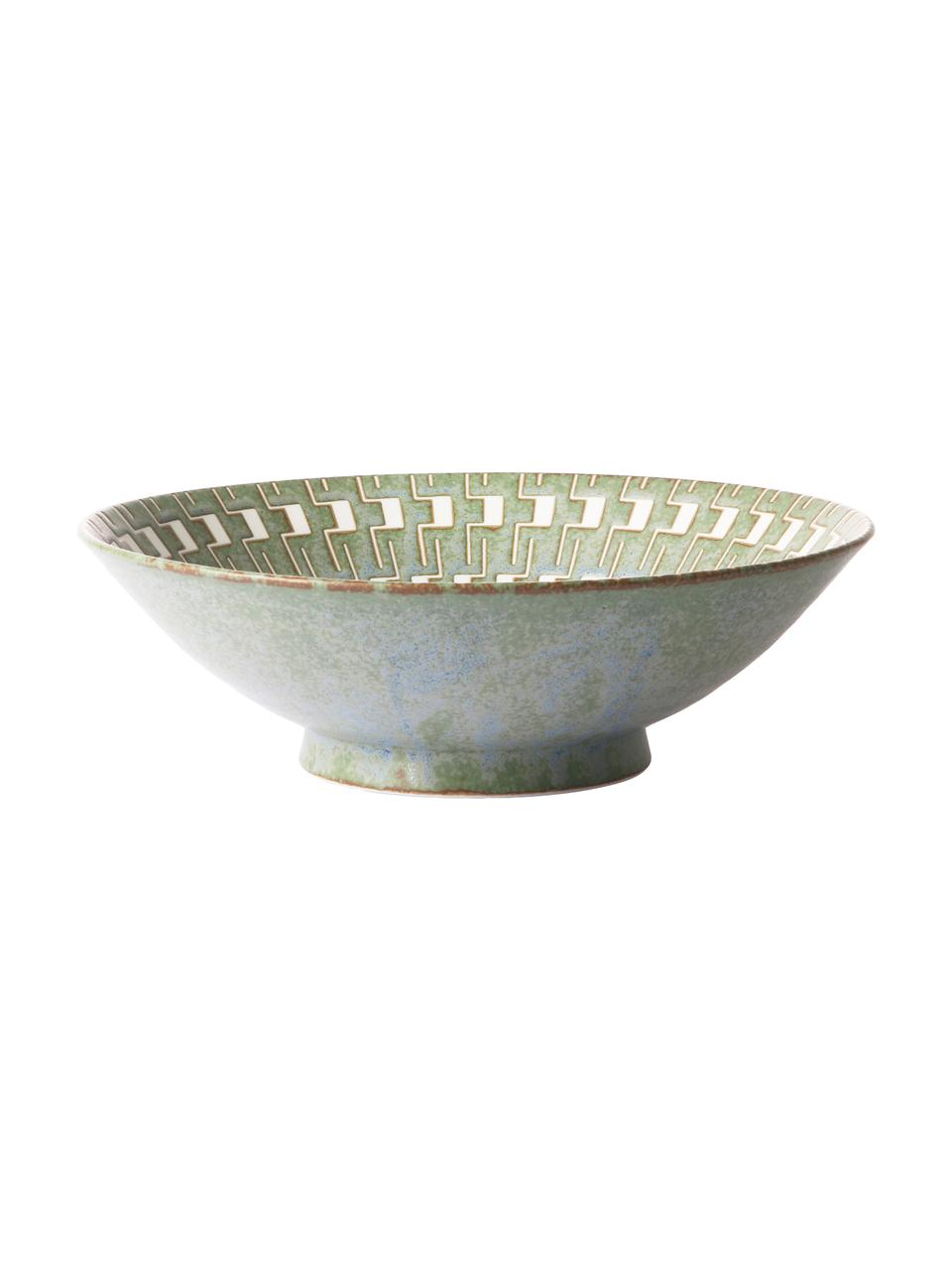 Ručně vyrobená salátová mísa v japonském stylu Yunomi, Ø 25 cm, Zelená, bílá